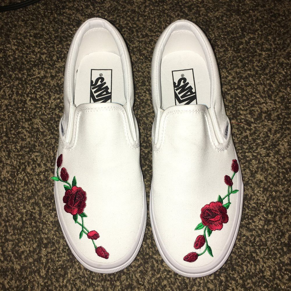479a3efff5854f Customized Rose Embroidered Vans - Ironed on and Hand sewed - FINAL SALE. No  refunds or exchanges. - With every purchase