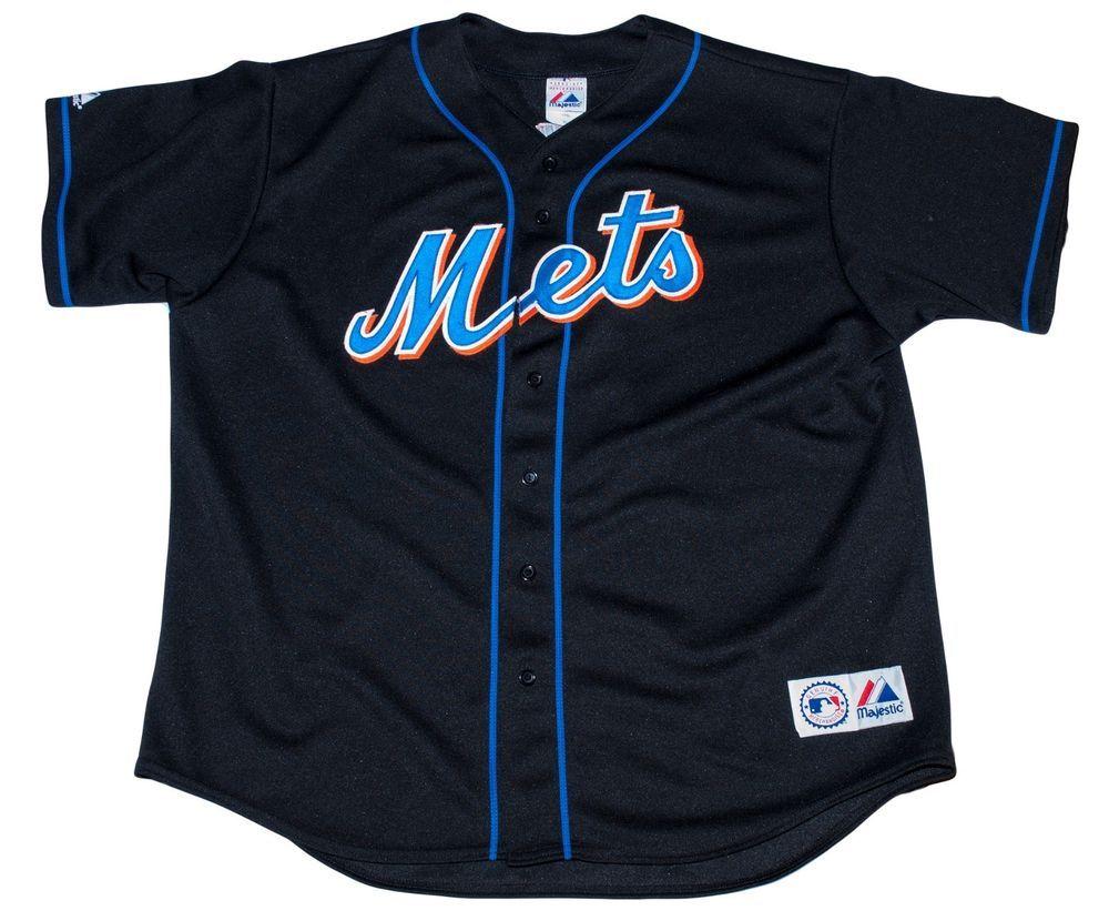 New York Mets Jose Reyes 7 MLB Authentic Majestic Sewn Jersey Black XL Blue Jays
