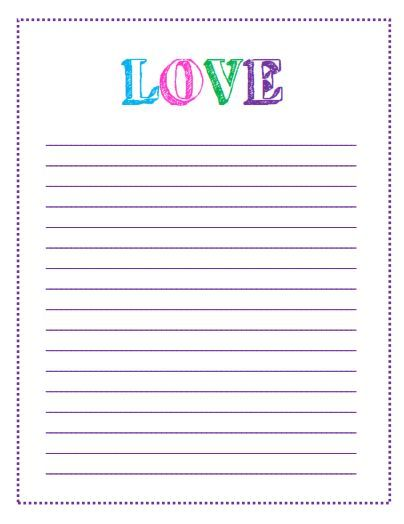 Block Letter LOVE Lined Paper Printable   I Love This Letter Template! This  And Other  Love Letter Templates Free