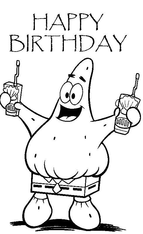 Spongebob Coloring Pages Happy Birthday Coloring Pages Birthday Coloring Pages Spongebob Birthday