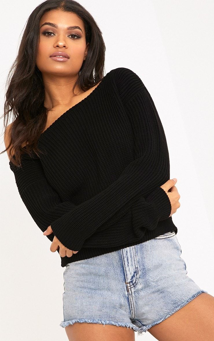c9a2254a8d16 Rosalina Black Off The Shoulder Crop Jumper - Knitwear - PrettylittleThing