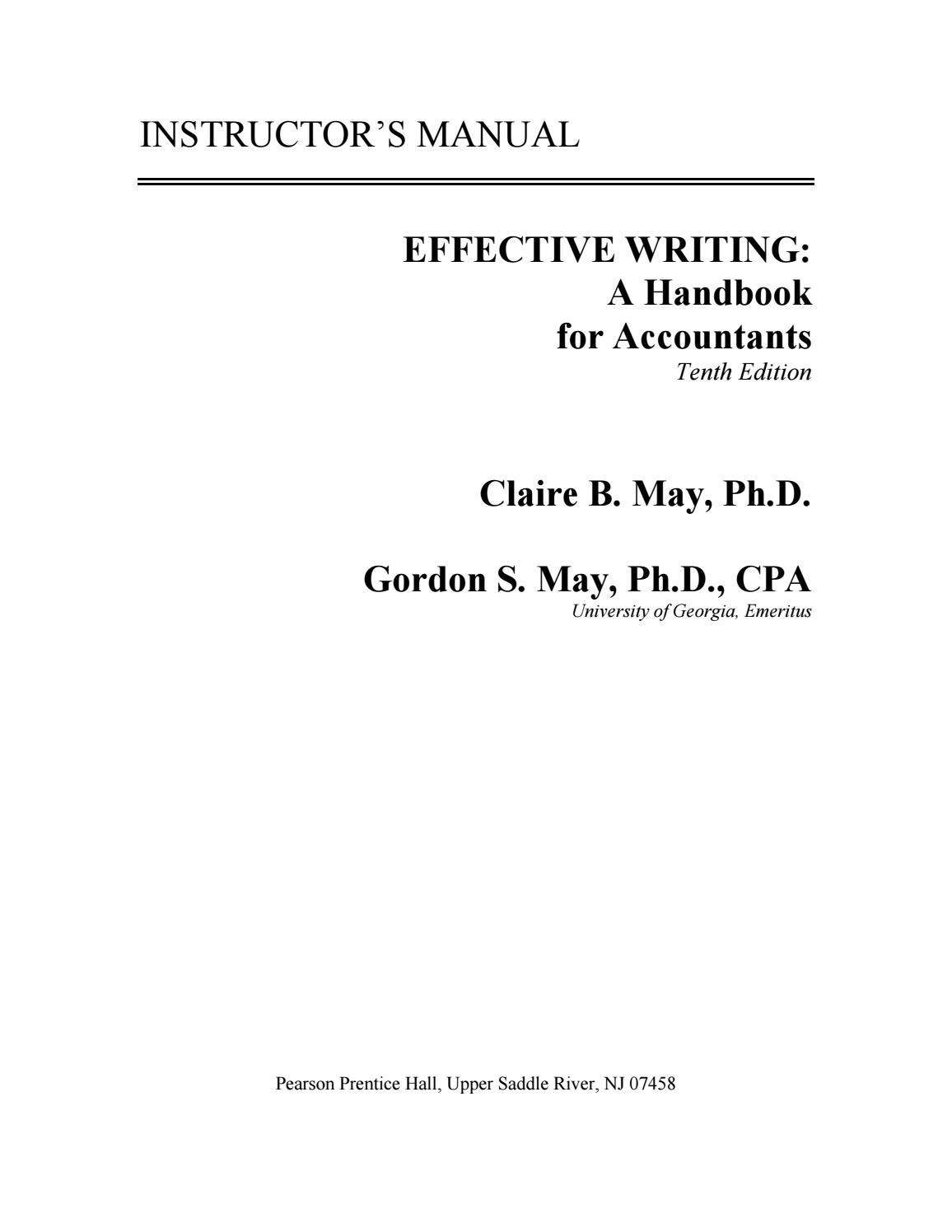Solution Manual For Effective Writing A Handbook For Accountants