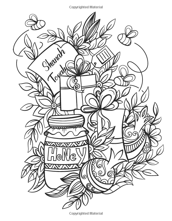 Rosh Hashanah Coloring Book Jewish Holiday Collection Unique Gift Idea For Holiday Craft Relaxation M New Year Coloring Pages Coloring Books Coloring Pages