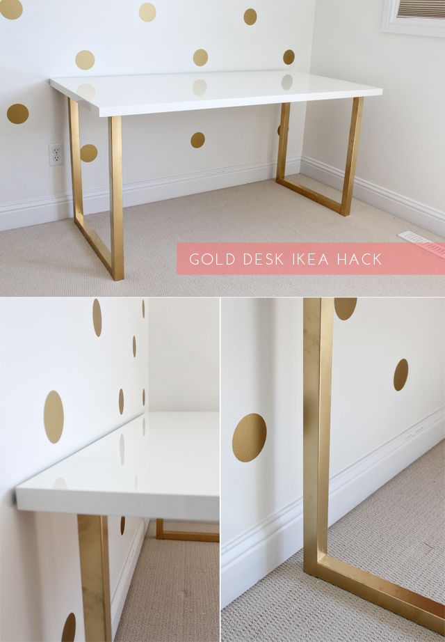 diy ify ikea hack diys ikea hack gold desk and desks. Black Bedroom Furniture Sets. Home Design Ideas