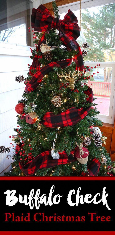 Buffalo Check Plaid Christmas Tree. Rustic DIY christmas tree on a budget. Lumberjack, deers an ...