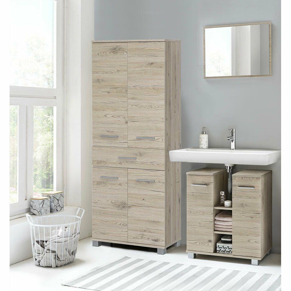 Details Zu Bad Badezimmer Set Waschbeckenunterschrank Spiegel Hochschrank 3tlg Eiche Sand In 2020 Badezimmer Set Waschbeckenunterschrank Hochschrank