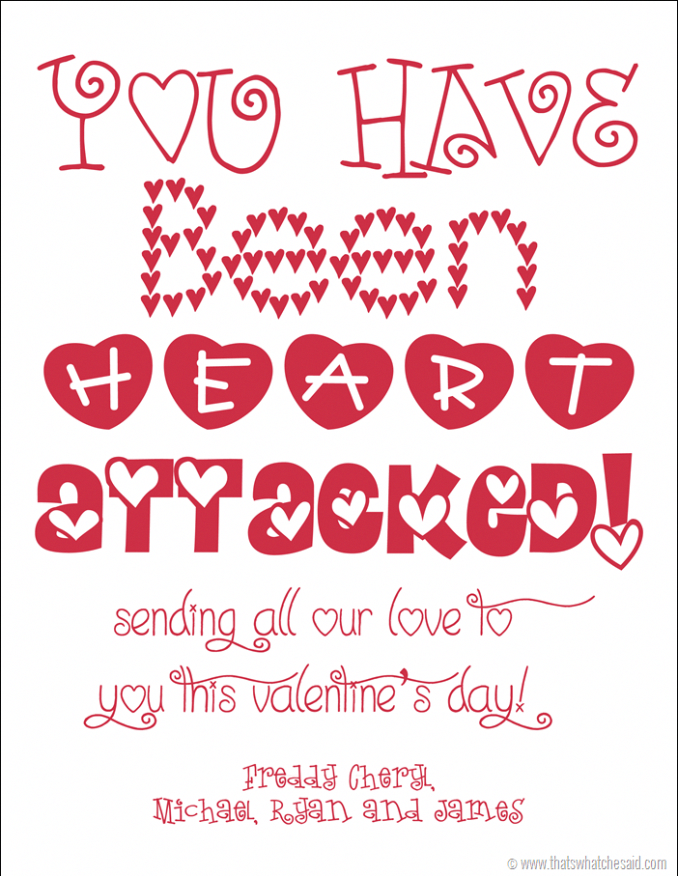 You've Been Heart Attacked Free Printable to send to loved ones afar with a…