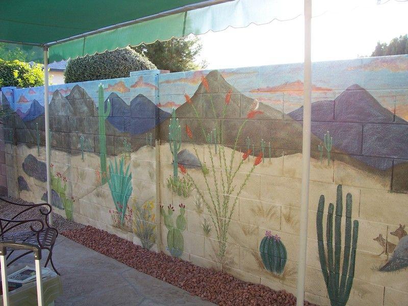 Block Wall Painted Desert Scene Outside Wall Paint Mural
