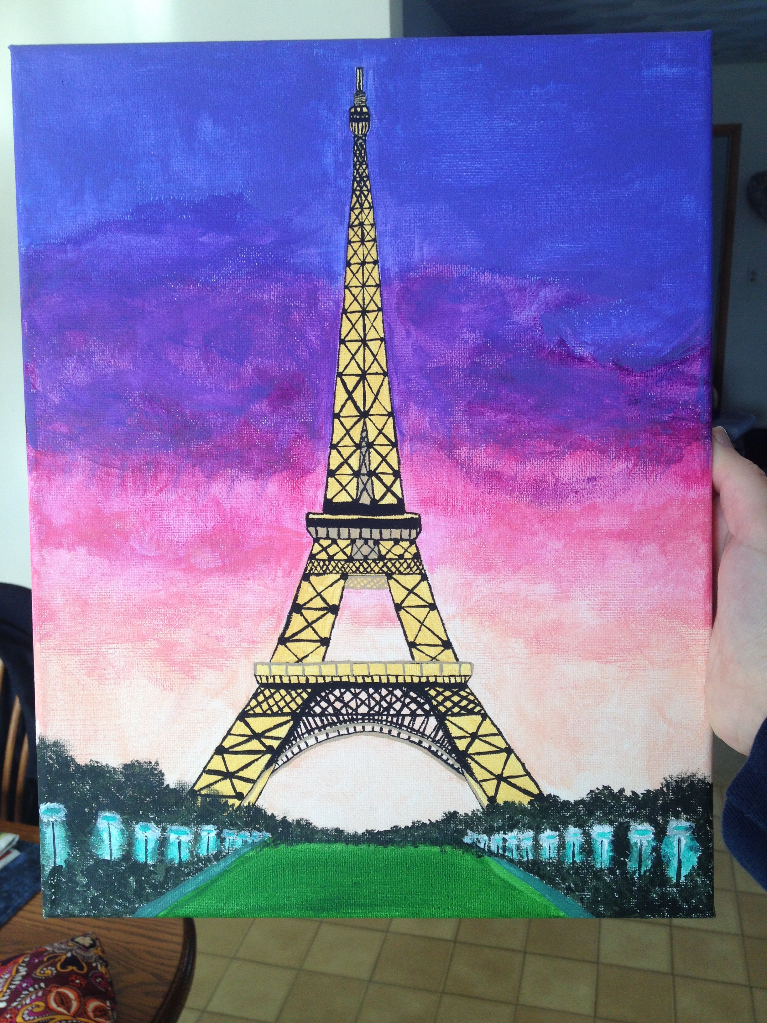 Canvas Painting Of Eiffel Tower I Painted For My Roommate Simple Canvas Paintings Eiffel Tower Painting Painting