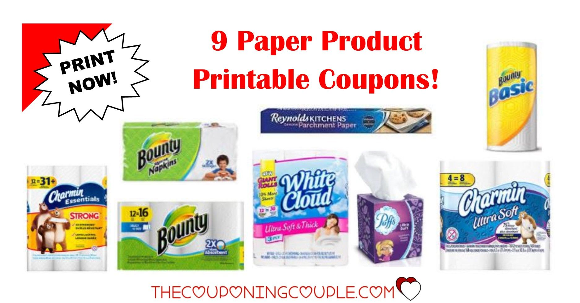 7 paper product printable coupons ~ bounty, charmin & more