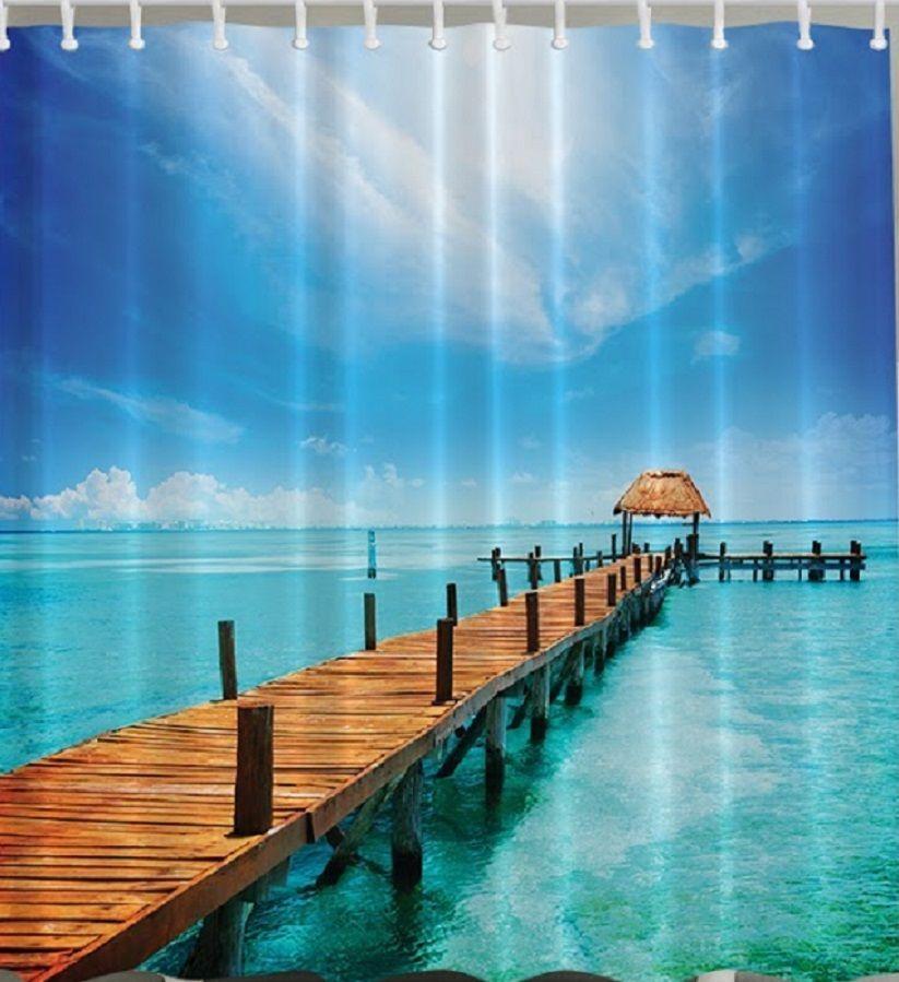 Island Ocean Bridge Fabric SHOWER CURTAIN Beach Blue Tropical Pier ...