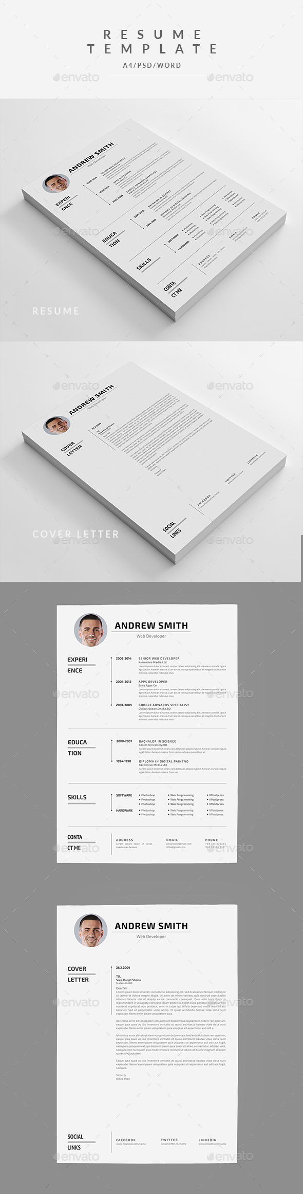 Microsoft Word Resume | Resume Cover Letter Template Psd Ms Word Resume Cv
