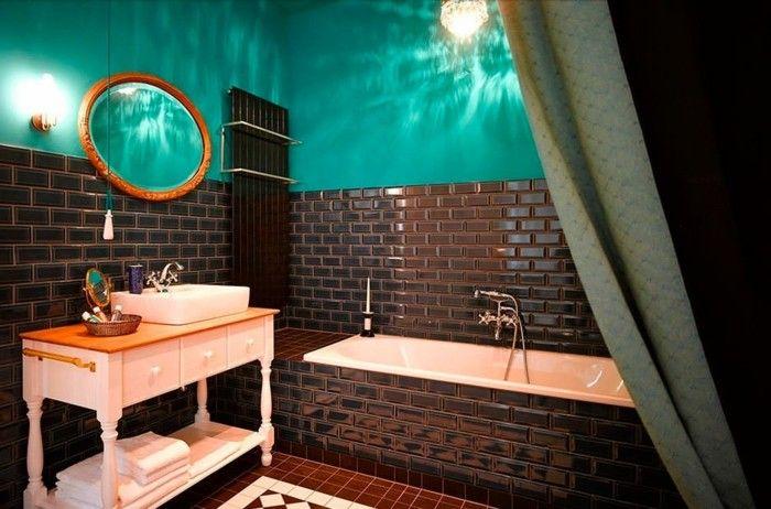 Carrelage Sol Salle Bainat Marron Mural Turquoise Et Couleur ...