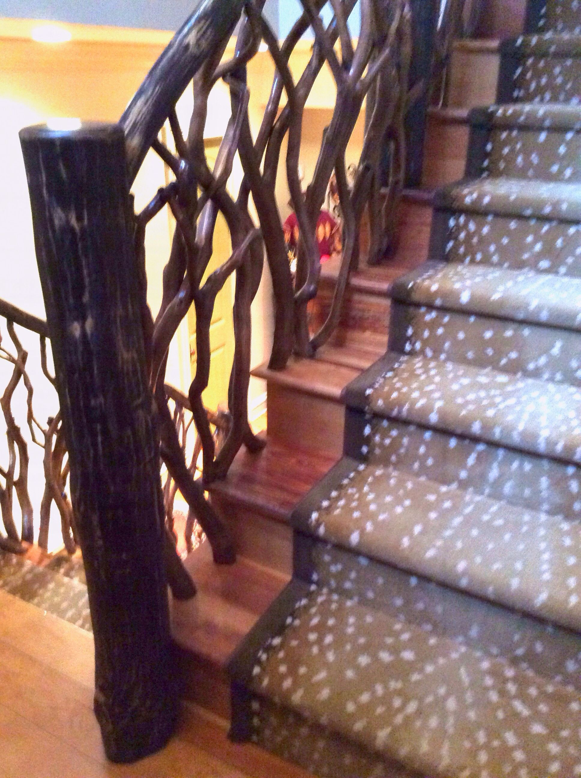 Best Mountain Laurel Twig Railing And Antelope Custom Stair 400 x 300
