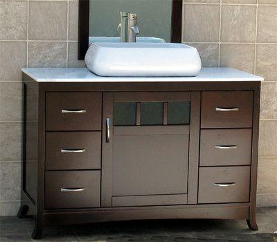 48 Bathroom Vanity Cabinet White Marble Stone Top Vessel Sink