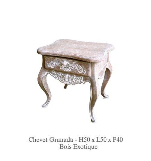 Www Deco Prive Com chevet joliment décoré en bois cérusé modèle granada. http://www