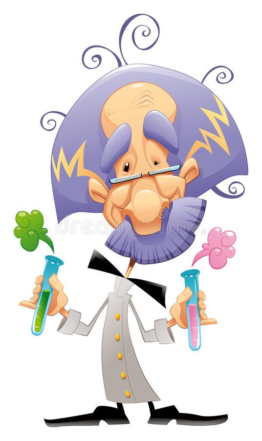 Mad scientist Funny and cartoon character