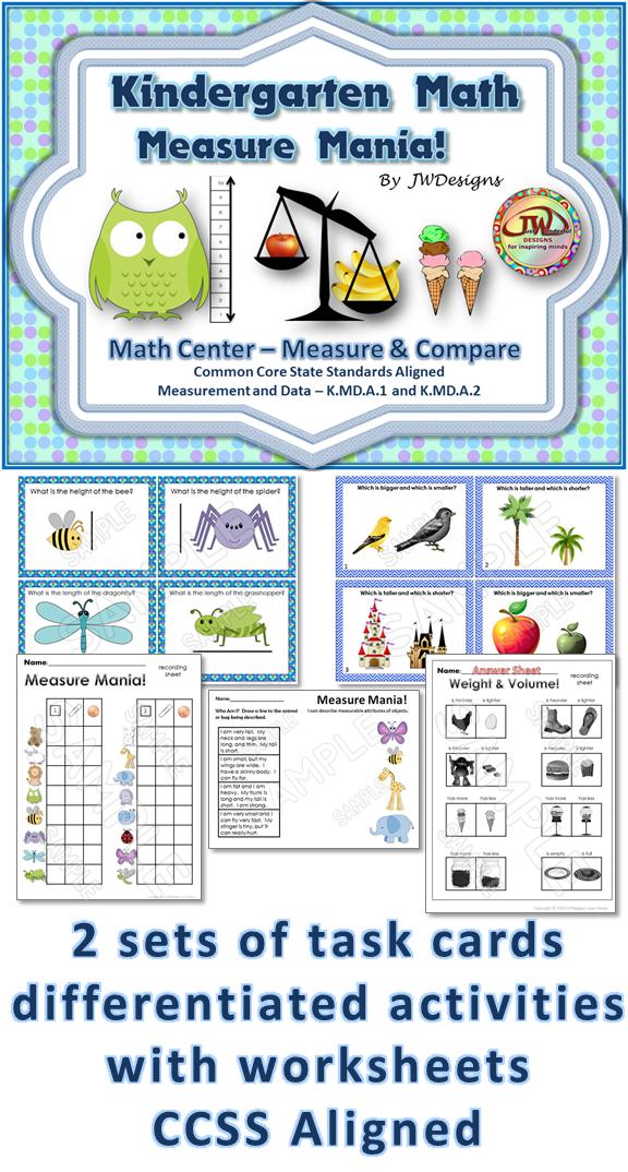 measurement task cards non standard measurement math center activities common cores. Black Bedroom Furniture Sets. Home Design Ideas