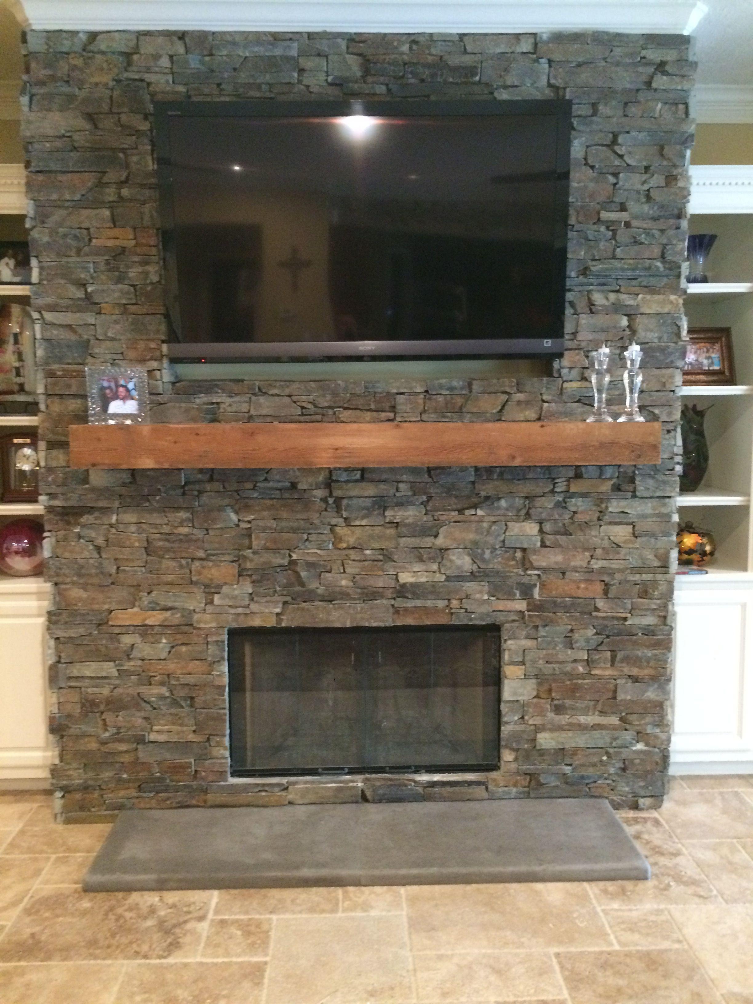 Saddleridge Mesh Stone Fireplace With Cedar Mantle Linear