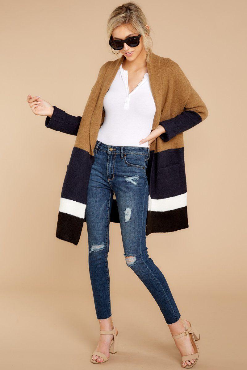 Stylish Tan Multi Stripe Cardigan Color Block Cardi
