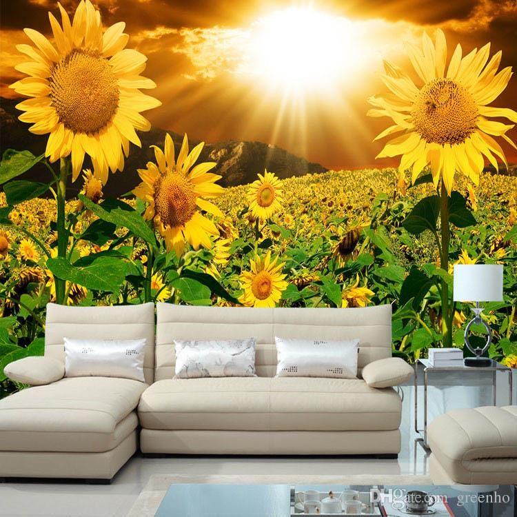 Beautiful Sunflower Photo Wallpaper Natural Beauty Wall Mural Customize Wallpaper Home Decor Children Room Bedroom So Wallpaper Decor Nature Decor Wall Scenery