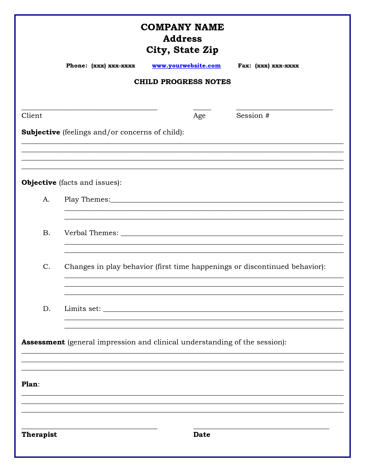 Therapy Progress Note Template  Professional Resources