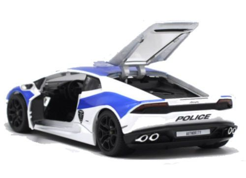 Lamborghini Huracan LP610 4 Police White And Blue 1/24 Diecast Model Car By