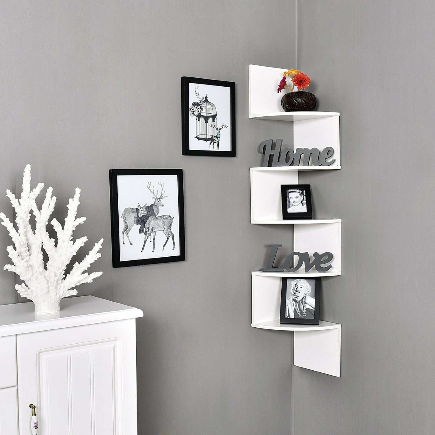 Large 10 X 10 Inches Zig Zag 5 Tiers Corner Wall Mount Shelf White Zig Zag Corner Wall Mount Shelf Makes Space Utili Wall Shelves Shelves