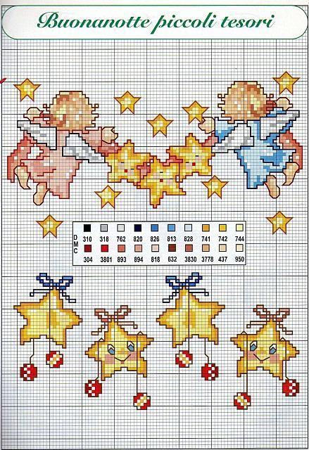 Bordi punto croce nascita per bambini con stelline e for Bordi punto croce