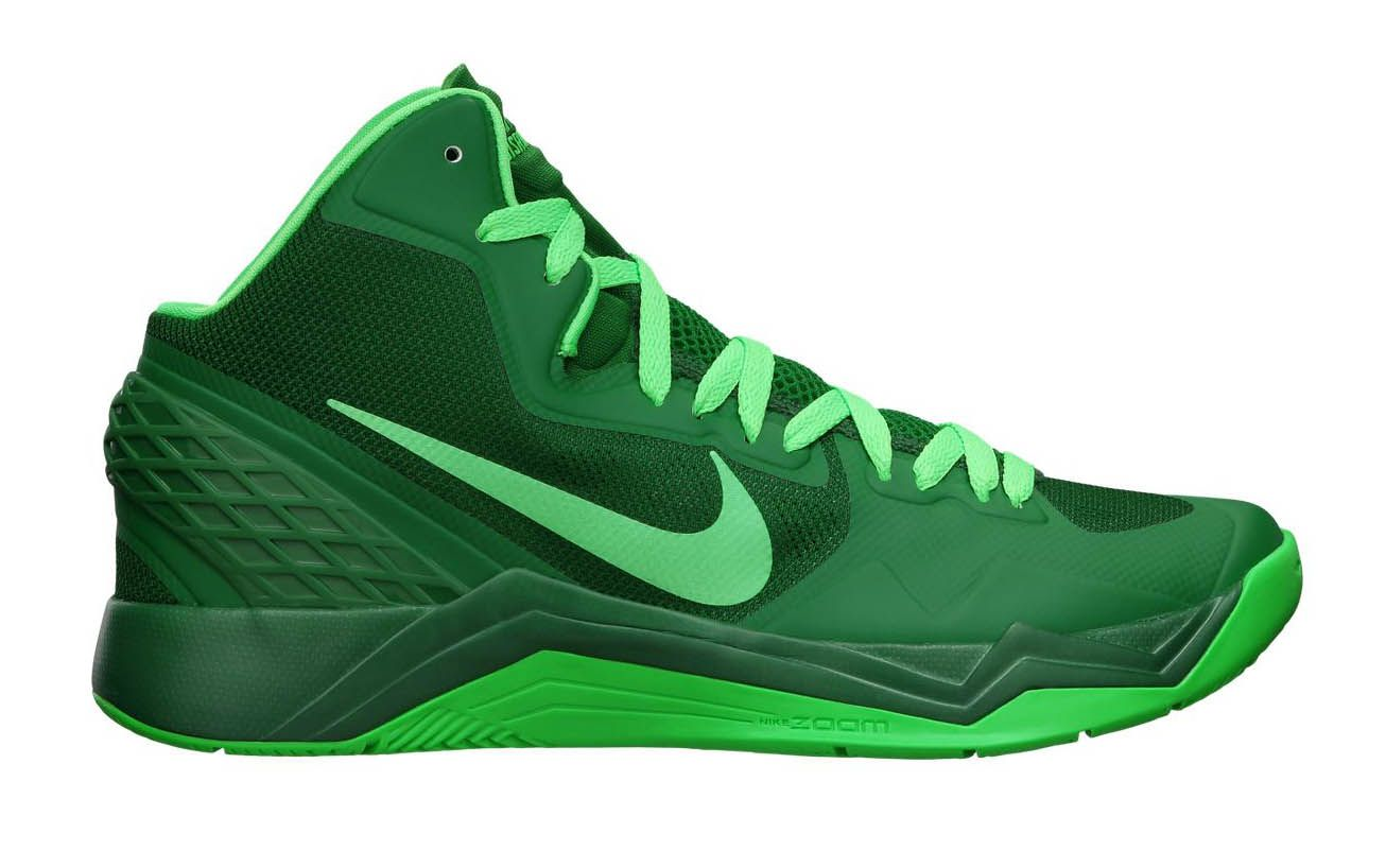 The new Zoom Hyperdisruptor from Nike Basketball shows up in a  green-on-green colorway.
