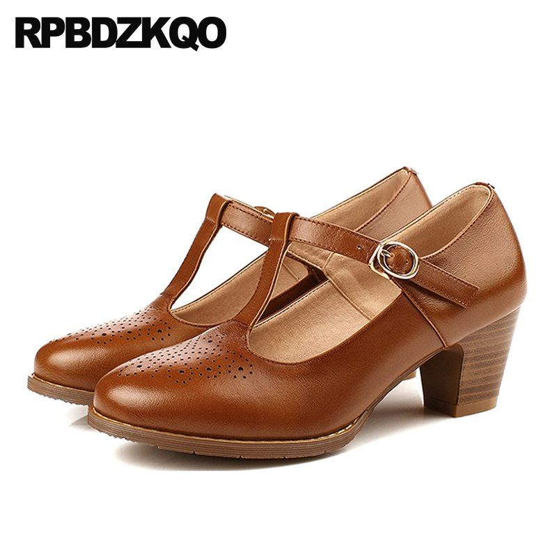 5b60f4114d Brogue China Round Toe Medium Heels Shoes Oxford High Chunky Brown T Strap  Genuine Leather Retro 2018 Spring Fashion Women Pumps