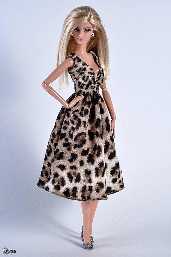 f002a7fd20 ELENPRIV chiffon with leopard print dress for Barbie Pivotal body dolls and similar  size dolls