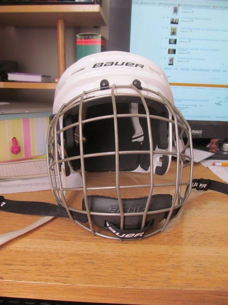 Bauer Hockey Helmet Bhh1500 Medium With A True Vision Ii Facemask Bauer With Images Helmet Hockey Helmet Ebay