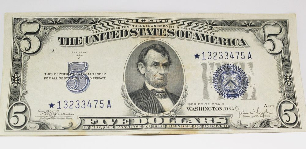 Us Mint 5 5 Five Dollar Silver Certificate 1934 C Series Star Note