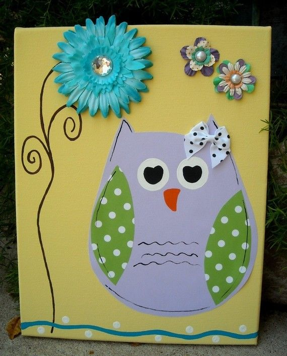 nursery wall art kids room decor owl art canvas painting baby room ...