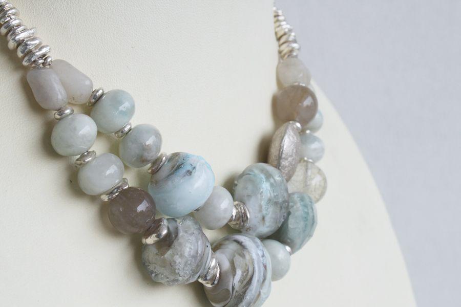 Lampwork, silver and gemstones necklace / 'Glacier Marjorie'