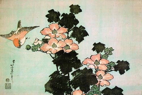 Hibiscus and Sparrow : Katsushika Hokusai Location: Minneapolis Institute  of Arts, Minneapolis, Minnesota