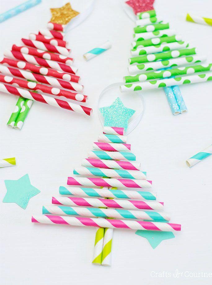 Kids Decorative Paper Straw Christmas Tree Ornaments Decorative