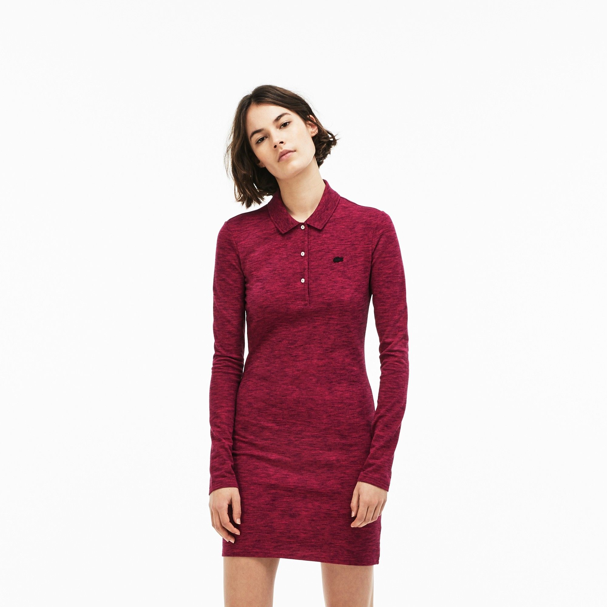 426a41ebf5 Lacoste Women's Live Slim Fit Stretch Piqué Polo Dress - Navy Blue ...
