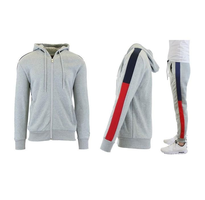 Daily Deal Activewear Men's Side Stripe Heavyweight Fleece Hoodie and Jogger Set - 7 Choices – UntilGone.com