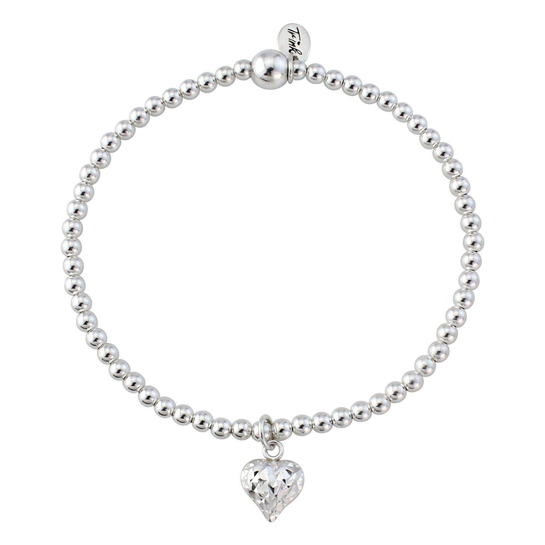 Trink Brand Silver Heart Sterling Silver Beaded Bracelet AmmxhEm2M