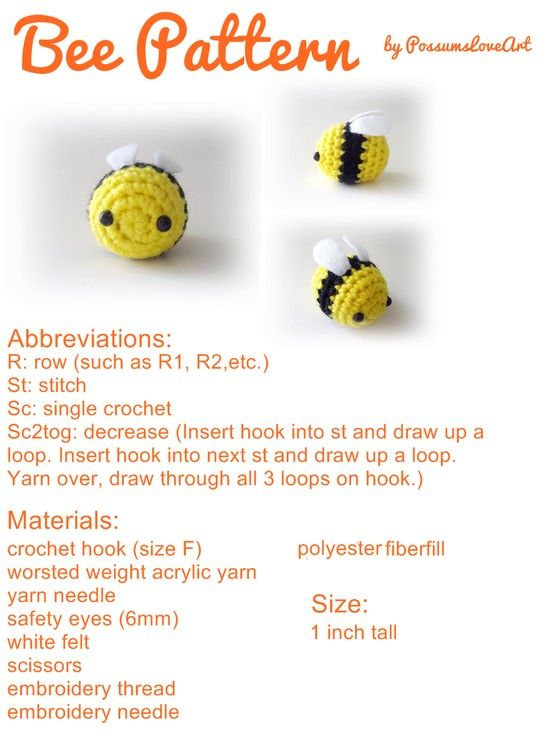 Bee Pattern...cute. | Crochet > Cuties ♡°♡ | Pinterest | Juguetes ...