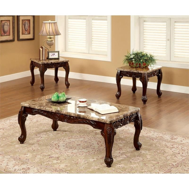 Furniture of america lechester 3 pc occasional table set