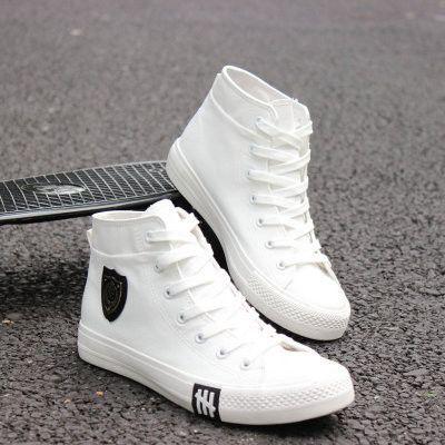 3978a8d0e 2017 New Spring/Autumn Men Casual Shoes Breathable Black High-top Lace-up  Canvas Shoes Espadrilles Fashion White Men's Flats