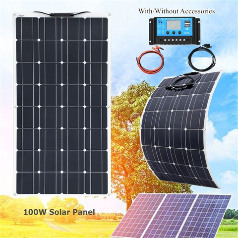 Mpn 100 W Solar Panel Kitbrand Xinpuguang100w Flexible Solar Panel With 20a Solar Controller Module Flexible Solar Panels Solar Panels Solar Panel Kits