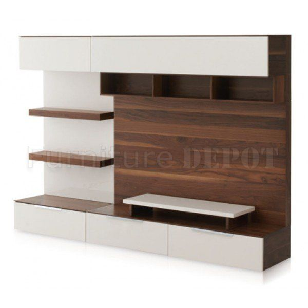 Brown & White Two Tone Finish Modern Entertainment Unit
