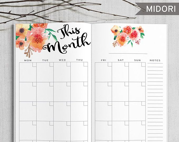 Printable Monthly Planner Midori Monthly Planner Printable