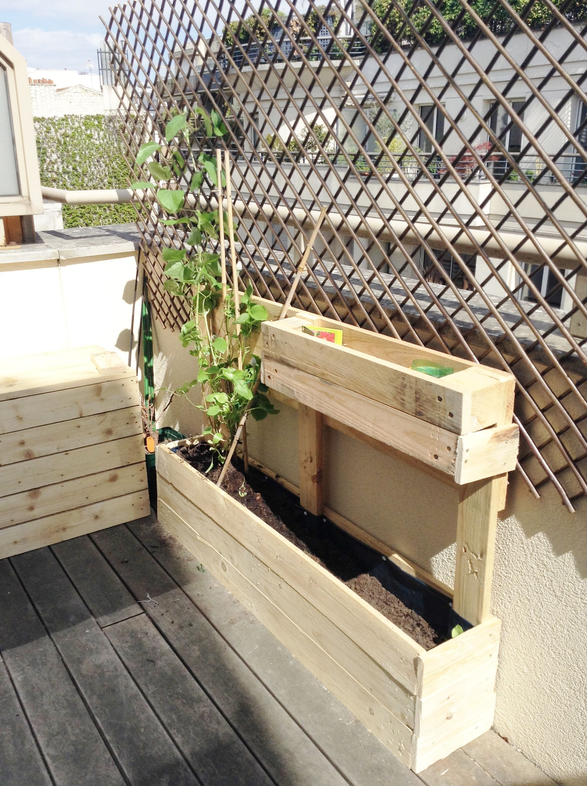 Diy Jardinieres En Palettes De Bois Balcon Jardiniere