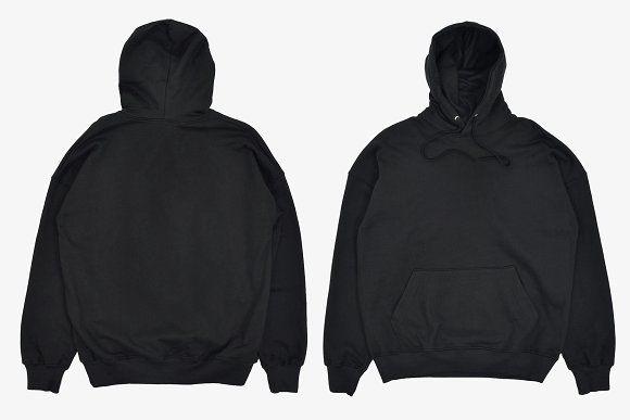 Realistic Blank Black Hoodie Mockup Hoodie Jaket Pakaian Pria