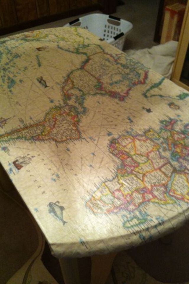 Mod podge map crappy old kmart table my new desk my mod podge map crappy old kmart table my new desk gumiabroncs Choice Image